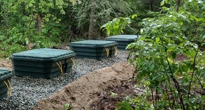 Peat moss septic drain field