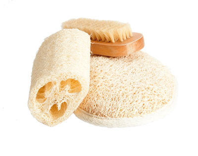 natural bath sponge, loofah and brush