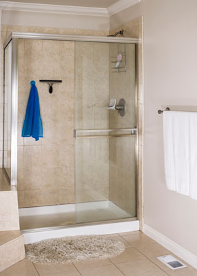 shower stall with hanging squeegee