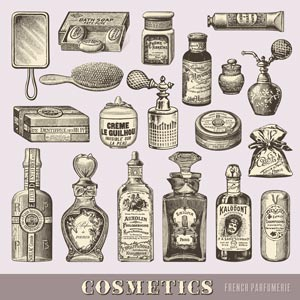 vintage beauty and cosmetics set