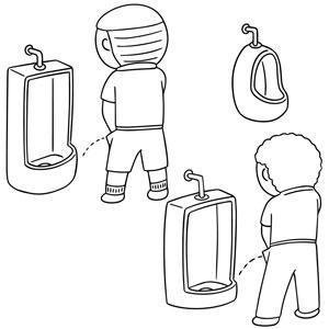 boys using urinal