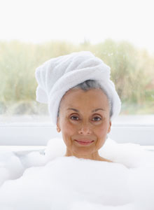 older woman in the tub