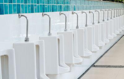 boys bathroom row of urinals