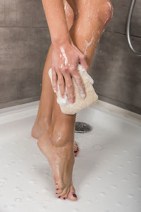 shower legs with body wash