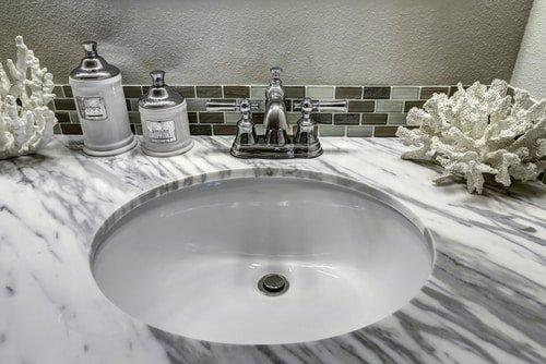 bathroom vanity white granite top