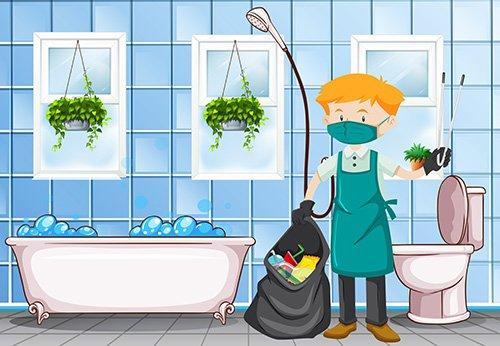 Boy cleaning the bathroom