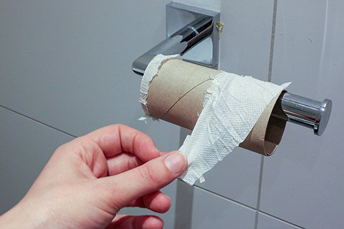 A person holding toilet paper