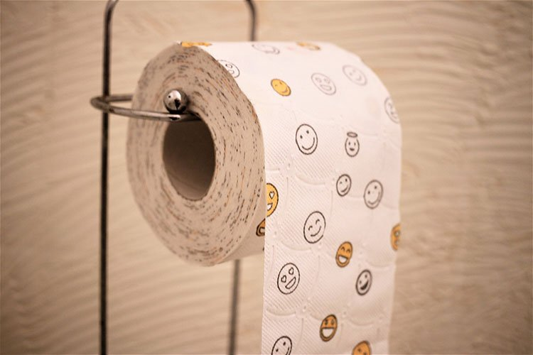 Toilet paper with smile prints