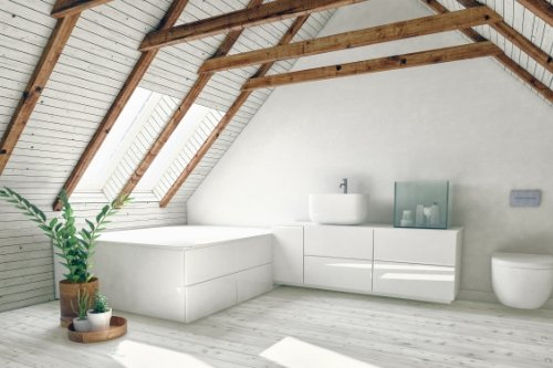 Comfort room with wall-hung toilet