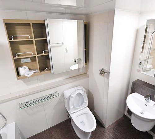 Bathroom with white toilet