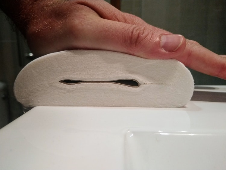 Toilet roll squashed flat