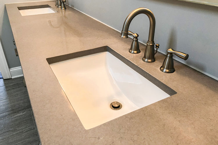 Bathroom vanity quartz countertop with white rectangular sinks