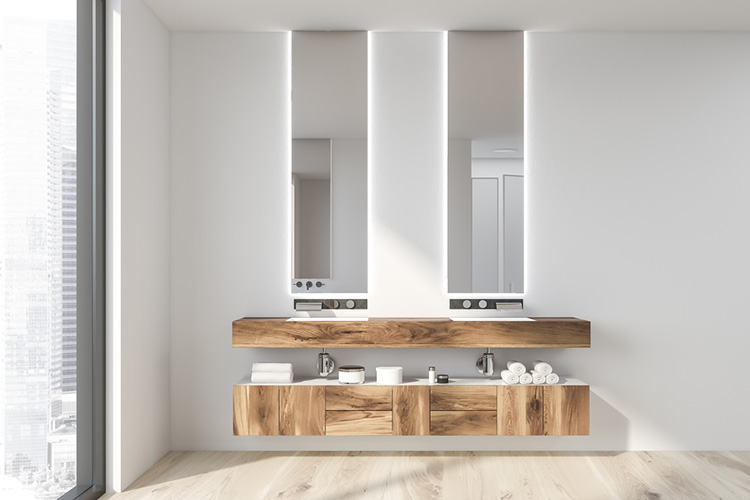 White bathroom interior, double sink