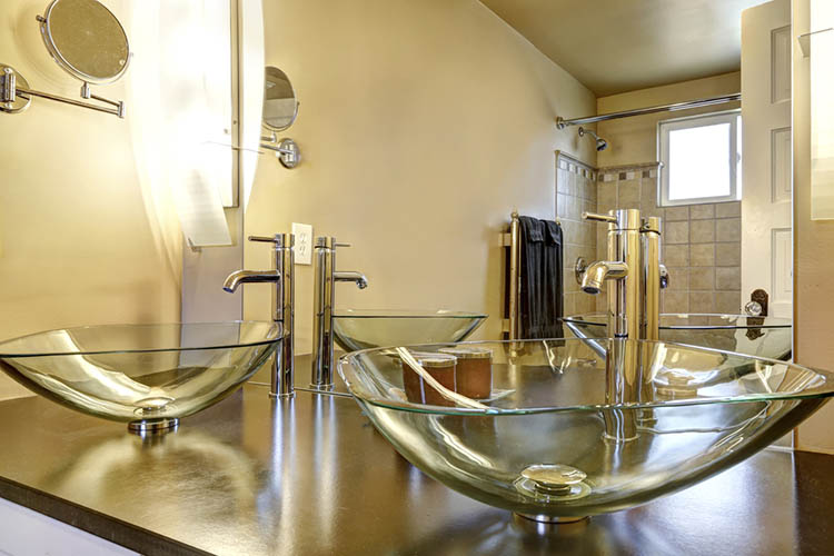 Modern bathroom interior with two vessel sinks