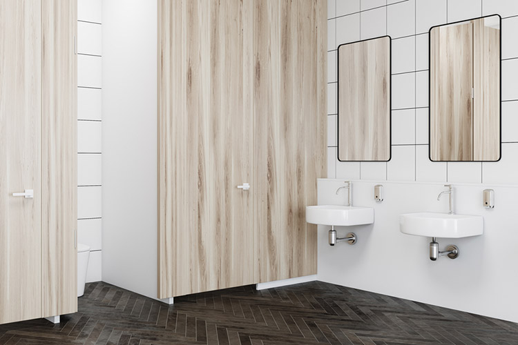 Wooden wall public restroom interior side view